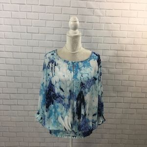 Semi Sheer Watercolor Pleated Blouse w/ Smocking